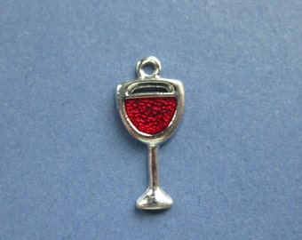 5 Wine Glass Charms - Wine Glass Pendants - Wine Glass - Goblet Charm - Enamel Charm - Silver Tone -20mm x 9mm -- (Y1-10167)