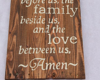 """Hand painted rustic distressed pallet wood sign """"Bless the food before us, the family beside us, and the love between us. Amen"""""""