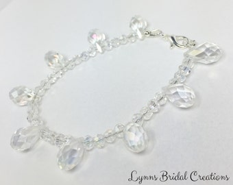 Crystal & Silver Bracelet Wedding Party Bracelet Bridesmaid Gift Clear Crystal Drop Bracelet Bridesmaid Charm Bracelet Mother of the Bride