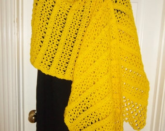 Crochet Shawl: Lemony Yellow Shawl
