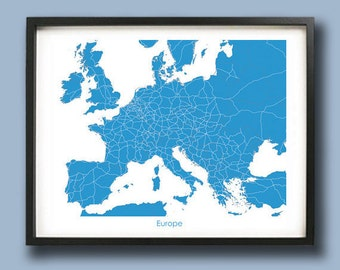 Europe Map Art Print / Europe Wall Art Poster  / Decorative map /  Choose your color