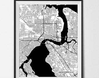 Jacksonville Map Print, Jacksonville Poster of Florida Map of Jacksonville Print Gift FL Jacksonville Florida Art University Map Dorm Room