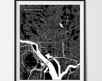 Washington District of Columbia Map Art Print, Washington DC Map Art Washington DC City Map of Washington DC Art Washing Dc Gift