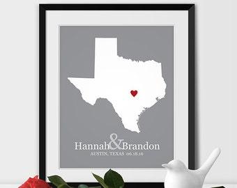 gift texas state map wedding gift mr u0026 mrs
