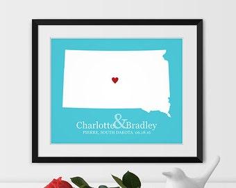 South Dakota Map Art, Pierre South Dakota Wedding Gift for Couples Wedding Gift for Anniversary Gift for Him South Dakota Gift -Any STATE