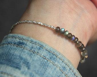 Natural Moonstone Bracelet, Moonstone Jewelry, Moonstone Beads, Gemstone Bracelet, June Birthstone Bracelet, Sterling Silver Beads Bracelet