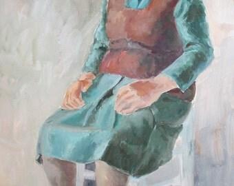 Vintage woman portrait gouache painting