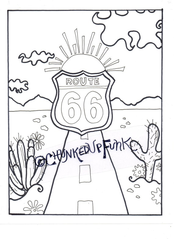 Printable Coloring Page Route 66 Arizona Texas Santa Route 66 Coloring Pages
