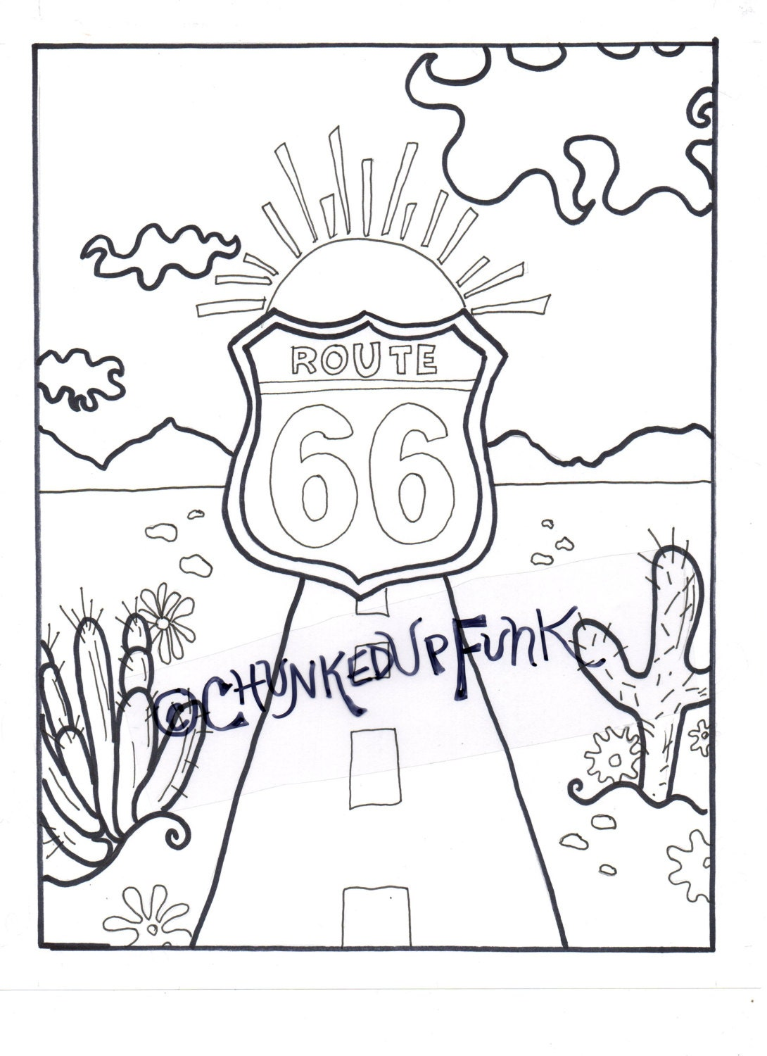 Printable Coloring Page Route 66 Arizona Texas Santa