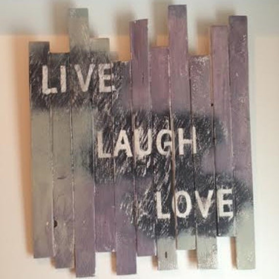live laugh love wall decor wood by rusticdauphin on etsy. Black Bedroom Furniture Sets. Home Design Ideas