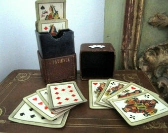 Deck of cards miniatures - box leather