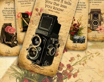 Photography quotes & Flowers Bookmarks - 12 vintage digital printable collage sheet instant download - Retro Box Collection