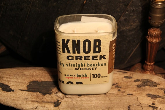 Upcycled Knob Creek Whiskey Candle - Recycled Bourbon Bottle Candle Handmade Soy Candle 1 Liter Recycled Glass Bottle 22oz Soy Wax