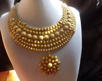 Statement necklace Ibiza ethnic hippie sunflower yellow
