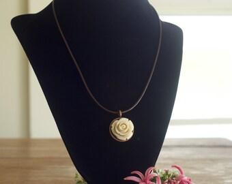 White Flower Rose Pendant Necklace