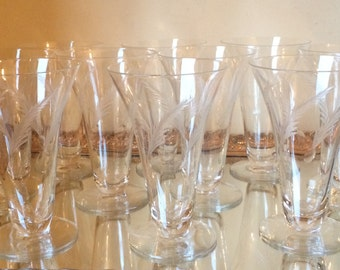 Set of 10 etched low or footed 8 oz. glasses