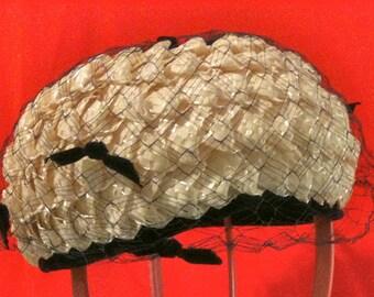 1960s Vintage Ivory Straw Pillbox Wedding Hat Navy Netting with Tiny Velvet Bows, Original Loveman's Inc - McHenry's Hat Nashville