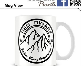 red dwarf mug logo mug