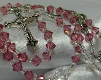 First Communion Rosary Personalized Swarovski Crystal Rose