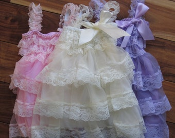 Beautiful lace ruffle tier dress! Sizes 12 month to girl's 12.  Perfect for any occassion!