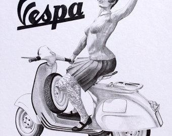 Original Graphite Drawing Vespa Fashion