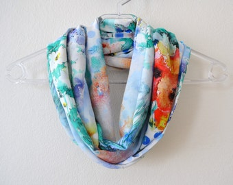 Cotton Colorful Infinity Scarf with Watercolor Painting Print Available in 2 Sizes, Summer Fashion, Women Accessories, Spring, Fall