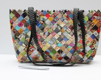 Unique handmade multicolor water resistant extra large purse made out of recycled magazine paper