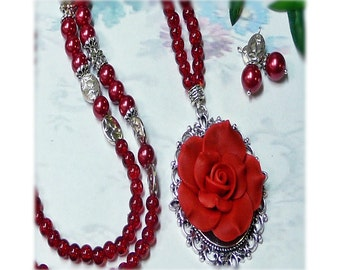 Roses are Red long necklace and earrings set, choose your fittings