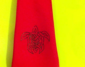 Handmade Silk tie, personalised with your choice of motif, logo, or line drawing
