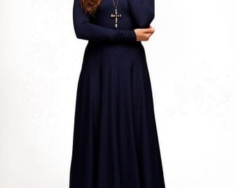 Evening dark blue dress Maxi dress Long sleeve.