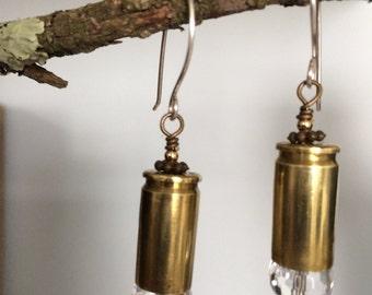 Bullet casing earrings with crystals/bullet dangle earrings/brass bullet earring/upcycled brass bullet earrings with crystals
