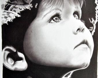 Baby portrait in pencil