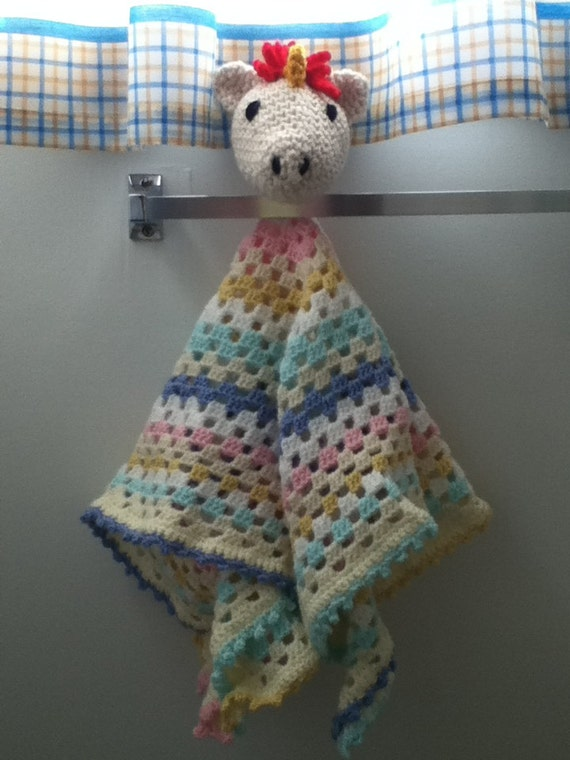 Amigurumi Baby Blanket : Crochet Amigurumi Unicorn Baby Security by ShimmereeCreations