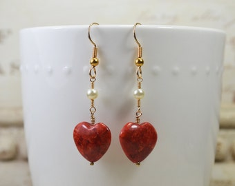 Coral Hearts & Pearls Earrings