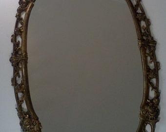 Vintage Brass Wall Mirror