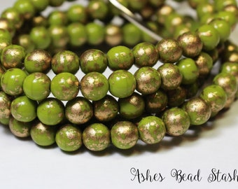 Golden Olive Green Opaque Glass Druk Round Beads, 30 Pieces