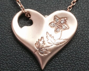 Hand Engraved 14K Rose Gold Heart Necklace with Diamonds.