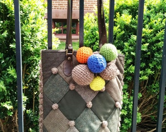 Quilted & Knitted Tote with Pompom Bubble