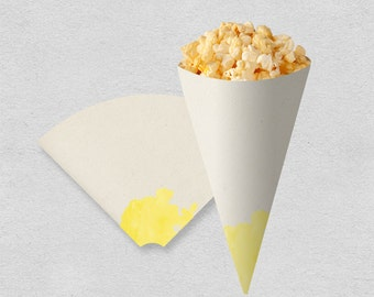 Watercolor party printable snack cone | party popcorn cone treat cone | yellow birthday bridal shower wedding party cone | INSTANT DOWNLOAD