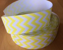 "Neon Yellow Chevron Ribbon, Grosgrain Ribbon 1.5"", Yellow Chevron Ribbons, Choose from 1-10 yards"