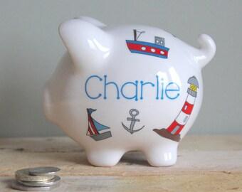 Ceramic piggy bank etsy - Nautical piggy banks ...