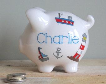Personalised Nautical Piggy Bank