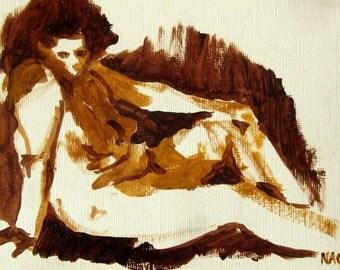 Ochre Recline (January 2015), original oil painting of reclining female model