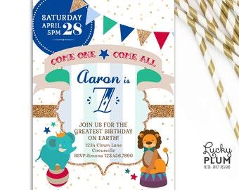 Circus Birthday Invitation / Fair Carnival Invite / Lion Elephant Animal Invite / Gold Glitter Stripe Invitation / *Digital file*