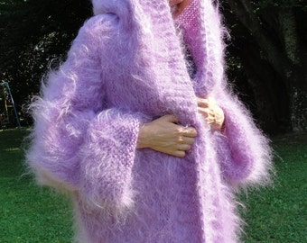 ORDER mohair shrug hand knitted robe fuzzy handmade shrug hooded robe mohair sweater coat silky mohair fluffy  One size Violet by Dukyana