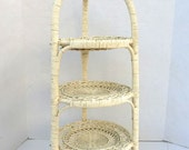 Vintage Shabby Chic Wicker 3 Tier Cake Cupcake Appetizer Tall Serving Tray