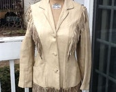 Women's Vintage 1950's ROCKABILLY Coat, WESTERN Fringe LEATHER Jacket, Size Small