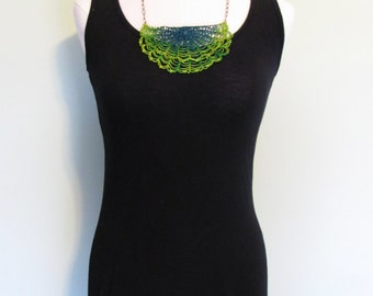 crochet doily necklace / Antimacassar Scarflette / soft hand dyed fiber jewelry / unique statement necklace in chartreuse and teal ombré