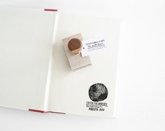 Full Moon Book Stamp, This Books Belongs To Personalized Rubber Stamp - Hand Lettered Custom Name - Custom Stamp - Ex Libris Stamp