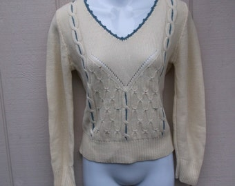 70s Vintage Cream Pointelle Lace Knit Sweater with blue cable stitch and trim / Size Med